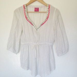 Free People Embroidered Peasant Top Blouse XS